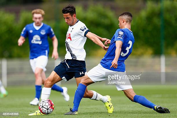 Ismail Azzaoui of Spurs battles with Antonee Robinson of Everton during the Barclays U21 Premier League match between Tottenham Hotspur U21 and...