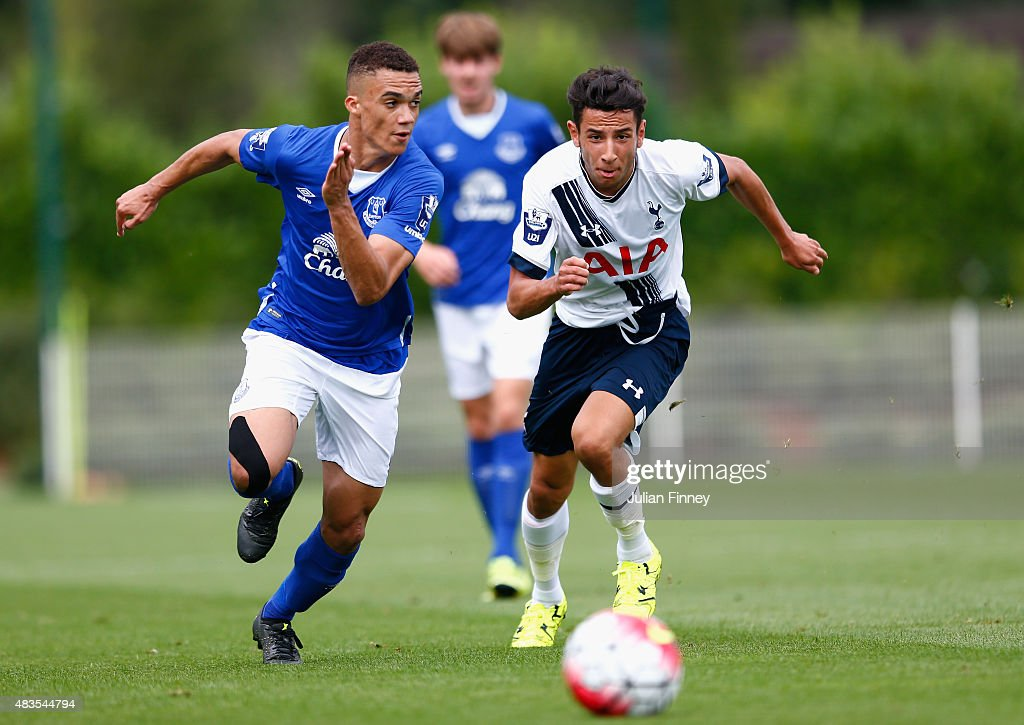 Ismail Azzaoui of Spurs in action with Antonee Robinson of Everton during the Barclays U21 Premier League match between Tottenham Hotspur U21 and Everton U21 at Tottenham Hotspur Training Ground on August 10, 2015 in Enfield, England.