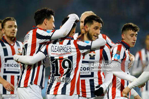 Ismail Azzaoui of Willem II celebrates 30 with Thom Haye of Willem II Mohamed El Hankouri of Willem II during the Dutch KNVB Beker match between...