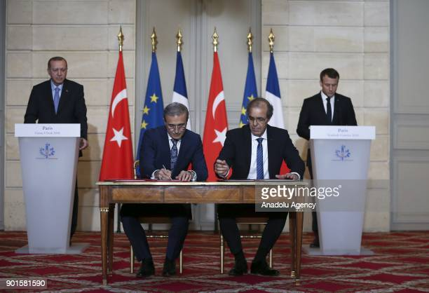 Ismail Demir Undersecretary for Defense Industry on behalf of Turkey and Abdoulaye Samba Eurosam Managing Director on behalf of France sign a...