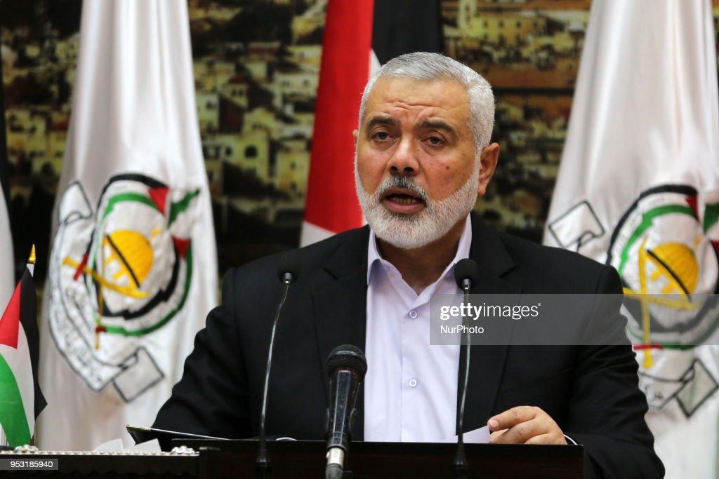 Ismail Haniya delivers a speech in Gaza : News Photo