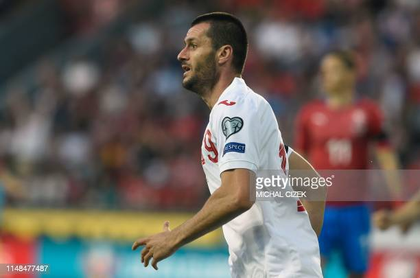 Ismail Isa of Bulgaria celebrates after scoring during the UEFA Euro 2020 qualifier Group A football match Czech Republic against Bulgaria on June 7...