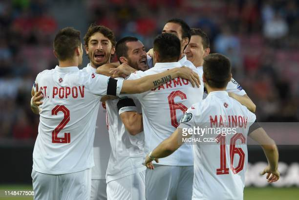 Ismail Isa of Bulgaria celebrates scoring the opening goal with his teammates after scoring during the UEFA Euro 2020 qualifier Group A football...