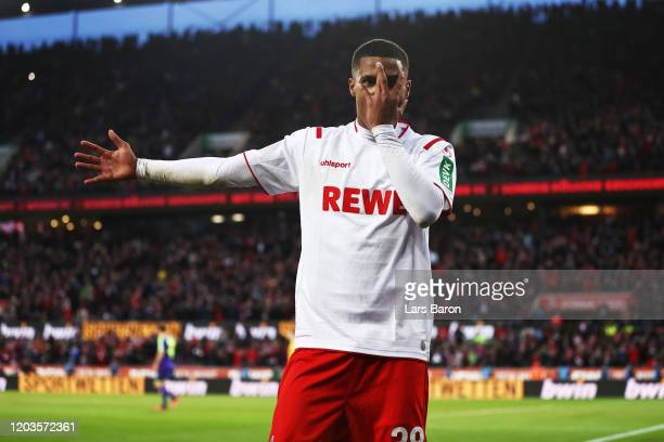 Ismail Jakobs of FC Koln celebrates scoring his sides fourth goal during the Bundesliga match between 1. FC Koeln and Sport-Club Freiburg at...