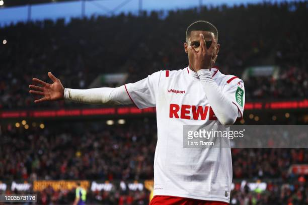 Ismail Jakobs of FC Koln celebrates scoring his sides fourth goal during the Bundesliga match between 1 FC Koeln and SportClub Freiburg at...