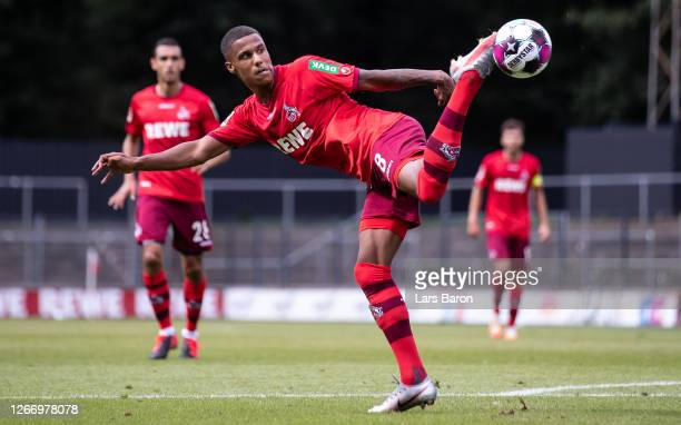 Ismail Jakobs of Koeln kicks the ball during a friendly match between 1. FC Koeln and VfL Bochum at Franz-Kremer-Stadion on August 18, 2020 in...