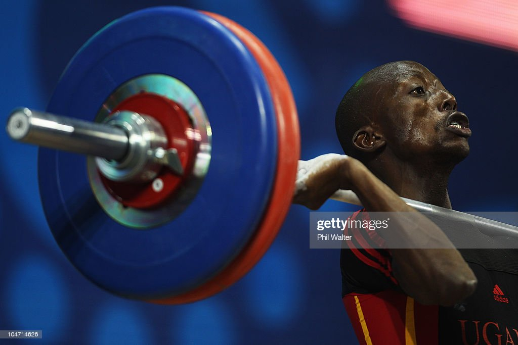 Ismail Katamba of Uganda competes in the Mens 56 kg weightlifting final during day one of the Delhi 2010 Commonwealth Games at Jawaharlal Nehru Sports Complex on October 4, 2010 in Delhi, India.