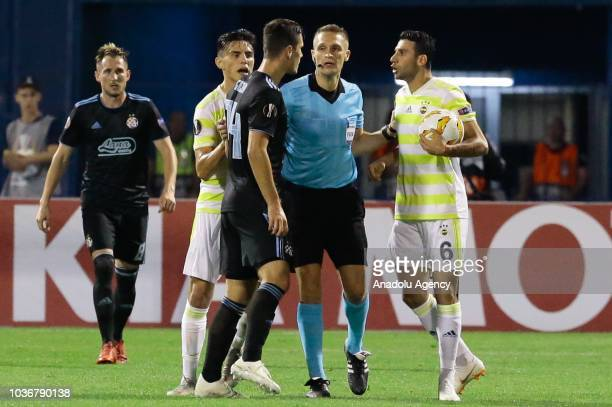 Ismail Koybasi of Fenerbahce argues with Amer Gojak of Dinamo Zagreb during the UEFA Europa League Group D match between Dinamo Zagreb and Fenerbahce...