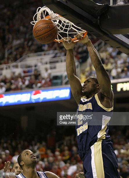 Isma'il Muhammad of the Georgia Tech Yellow Jackets dunks the ball during the game against the Duke Blue Devils during their ACC Semifinal game on...