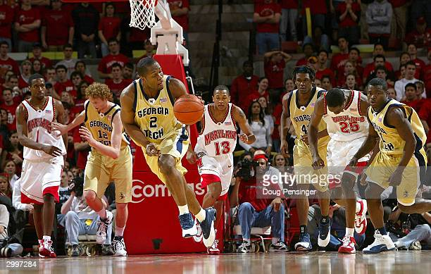 Isma'il Muhammad of the Georgia Tech Yellow Jackets leads his teammates upcourt against the Maryland Terrapins on February 19 2004 at the Comcast...