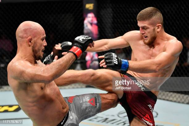 Ismail Naurdiev of Austria and Siyar Bahadurzada of Afghanistan exchange strikes in their welterweight bout during the UFC Fight Night event at Royal...