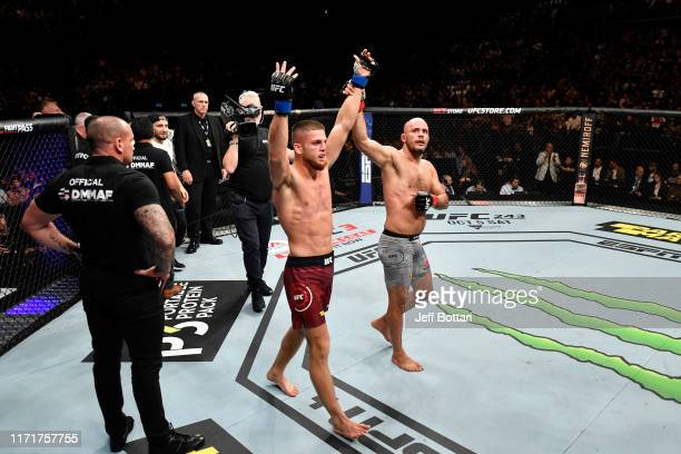 Ismail Naurdiev of Austria and Siyar Bahadurzada of Afghanistan react after the conclusion of their welterweight bout during the UFC Fight Night...