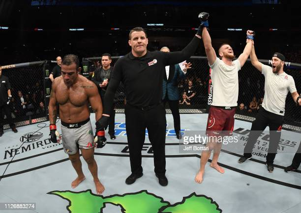 Ismail Naurdiev of Austria celebrates after his unanimousdecision victory over Michel Prazeres of Brazil in their welterweight bout during the UFC...