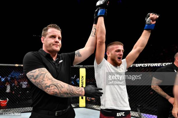Ismail Naurdiev of Austria celebrates his victory over Siyar Bahadurzada of Afghanistan in their welterweight bout during the UFC Fight Night event...