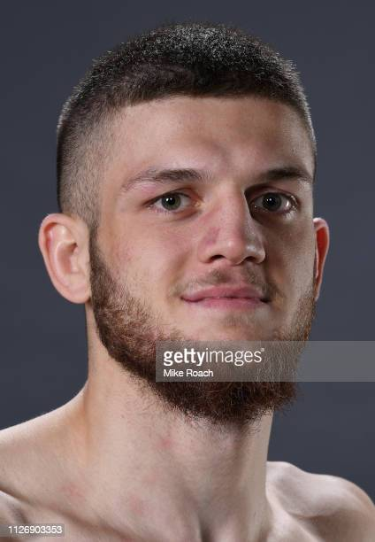 Ismail Naurdiev of Austria poses for a portrait backstage after his victory over Michel Prazeres during the UFC Fight Night event at O2 arena on...