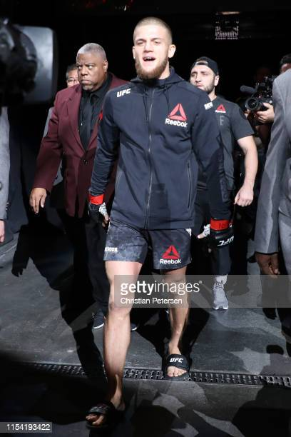 Ismail Naurdiev walks to the octagon for his welterweight fight during the UFC 239 event at TMobile Arena on July 6 2019 in Las Vegas Nevada