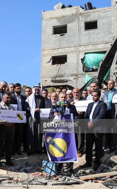 Ismail Ridvan Hamasrun AlAqsa TV vice president of the executive board holds a press conference near the wreckage of the AlAqsa TV Headquarters...