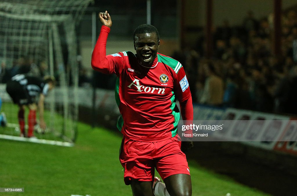 Ismail Yakubu of Newport celebrates after scoring the only goal of the game during the Blue Square Bet Premier Conference Play-off: First Leg match between Grimsby Town and Newport County at Blundell Park on April 24, 2013 in Grimsby, England.
