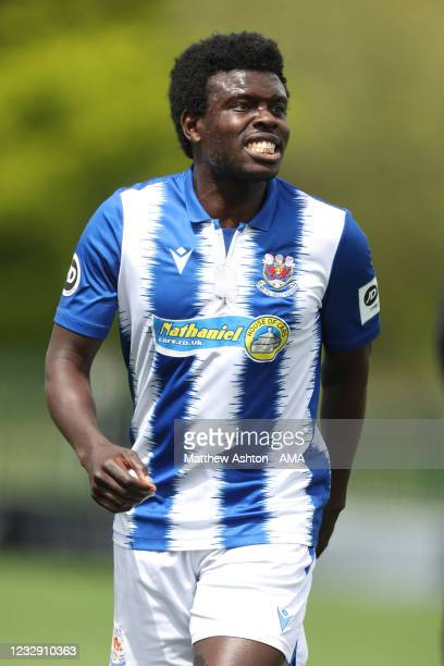Ismail Yukubu of Penybont FC during the Cymru Welsh Premier League match between Penybont and Connah's Quay Nomads at The SDM Glass Stadium on May...