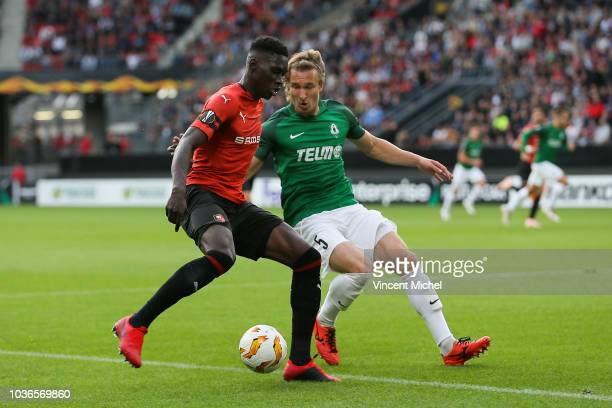 Ismaila Sarr of Rennes and Matej Hanousek of Jablonec during the Europa League match between Rennes and Jablonec at Roazhon Park on September 20,...