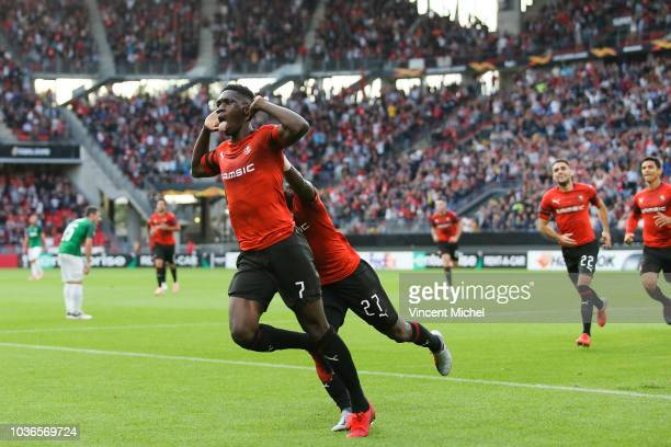 Ismaila Sarr of Rennes celebrates after scoring the first goal during the Europa League match between Rennes and Jablonec at Roazhon Park on...