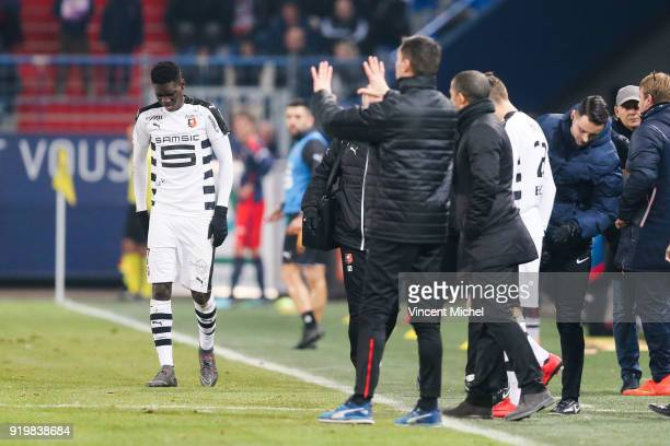 Ismaila Sarr of Rennes looks dejected to leave the pitch during the Ligue 1 match between SM Caen and Stade Rennes at Stade Michel D'Ornano on...