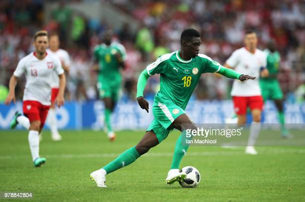 Ismaila Sarr of Senegal controls the ball during the 2018 FIFA World Cup Russia group H match between Poland and Senegal at Spartak Stadium on June...