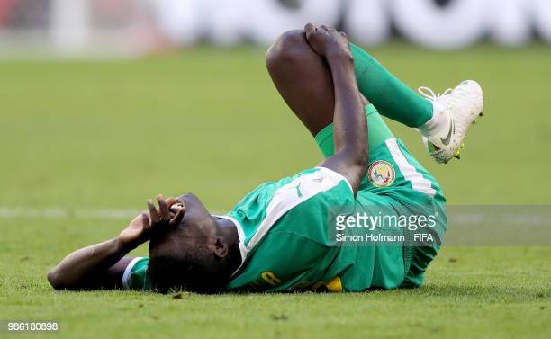 Ismaila Sarr of Senegal goes down injured during the 2018 FIFA World Cup Russia group H match between Senegal and Colombia at Samara Arena on June 28...