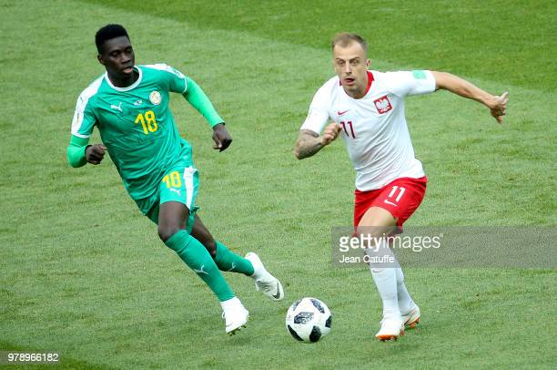 Ismaila Sarr of Senegal Kamil Grosicki of Poland during the 2018 FIFA World Cup Russia group H match between Poland and Senegal at Spartak Stadium on...