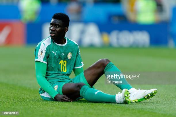 Ismaila Sarr of Senegal on the ground during the 2018 FIFA World Cup Russia group H match between Poland and Senegal at Spartak Stadium on June 19...