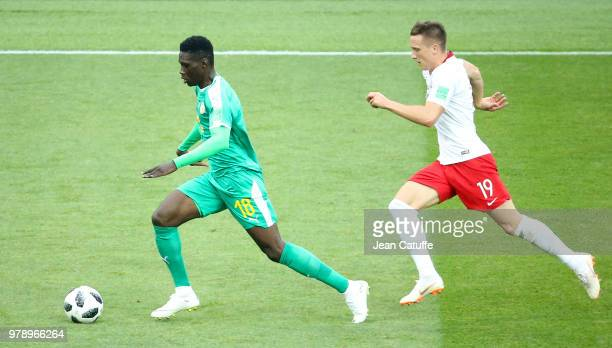 Ismaila Sarr of Senegal Piotr Zielinski of Poland during the 2018 FIFA World Cup Russia group H match between Poland and Senegal at Spartak Stadium...