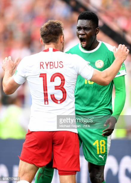 Ismaila Sarr of Senegal shouts at Maciej Rybus of Poland during the 2018 FIFA World Cup Russia group H match between Poland and Senegal at Spartak...