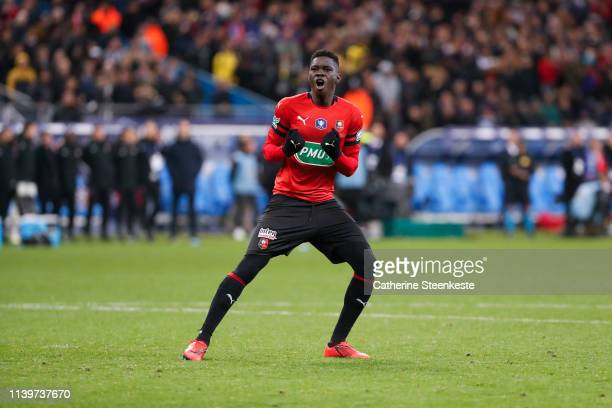 Ismaila Sarr of Stade Rennais FC reacts after scoring during the penalty session of the Coupe de France Final match between Stade Rennais and Paris...