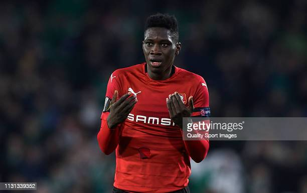 Ismaila Sarr of Stade Rennais looks on during the UEFA Europa League Round of 32 Second Leg match between Real Betis v Stade Rennais at Estadio...