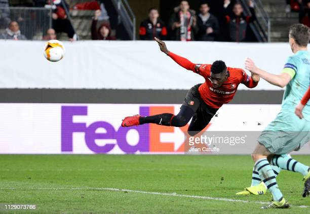 Ismaila Sarr of Stade Rennais scores the third goal for Rennes during the UEFA Europa League Round of 16 First Leg match between Stade Rennais FC and...