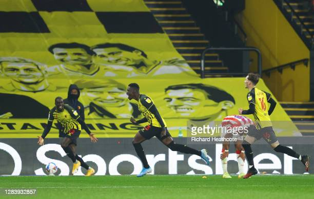 Ismaila Sarr of Watford celebrates after scoring his sides third goal during the Sky Bet Championship match between Watford and Stoke City at...
