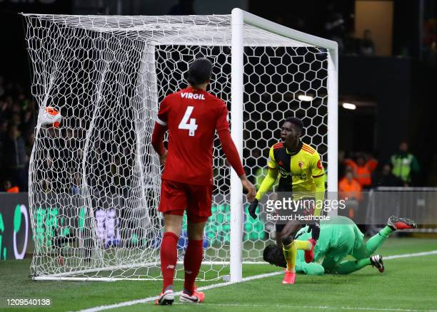 Ismaila Sarr of Watford celebrates after scoring his team's first goal during the Premier League match between Watford FC and Liverpool FC at...