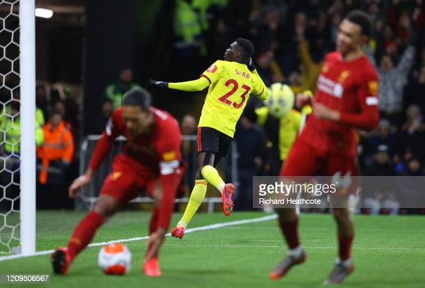 Ismaila Sarr of Watford celebrates after scoring his team's second goal during the Premier League match between Watford FC and Liverpool FC at...