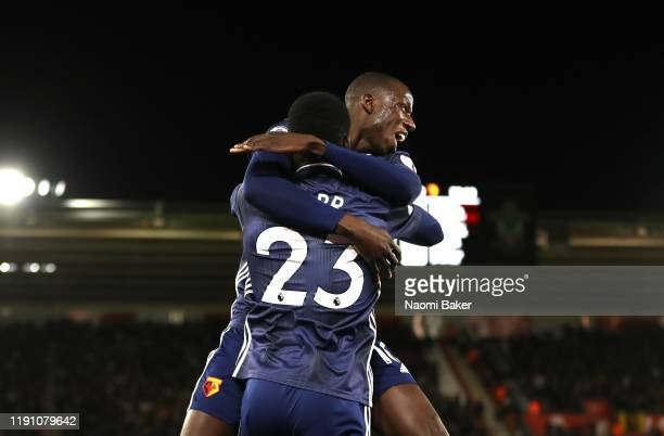 Ismaila Sarr of Watford celebrates scoring his team's first goal during the Premier League match between Southampton FC and Watford FC at St Mary's...