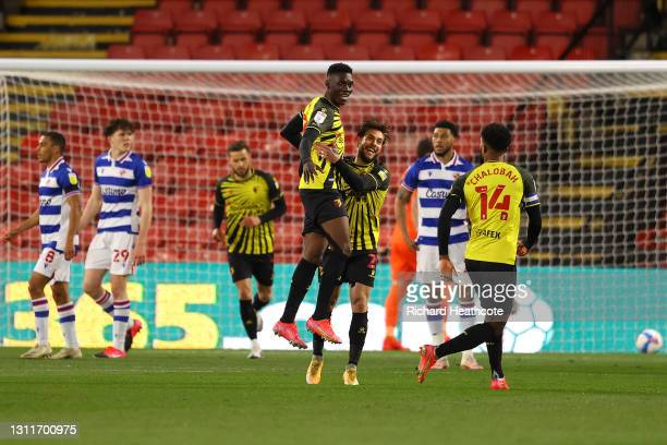Ismaila Sarr of Watford celebrates scoring the first goal during the Sky Bet Championship match between Watford and Reading at Vicarage Road on April...