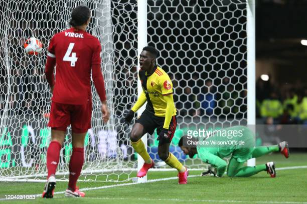 Ismaila Sarr of Watford celebrates scoring the opening goal during the Premier League match between Watford FC and Liverpool FC at Vicarage Road on...