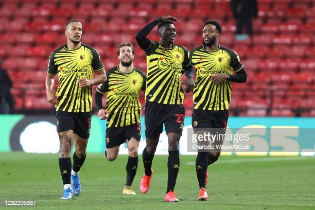 Ismaila Sarr of Watford celebrates scoring the opening goal during the Sky Bet Championship match between Watford and Reading at Vicarage Road on...