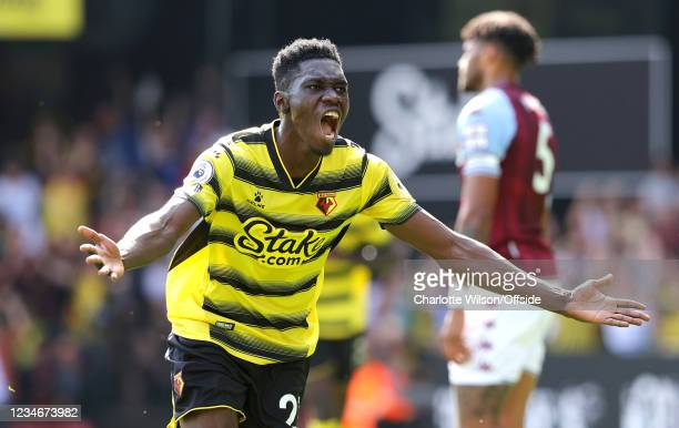 Ismaila Sarr of Watford celebrates scoring their 2nd goal during the Premier League match between Watford and Aston Villa at Vicarage Road on August...