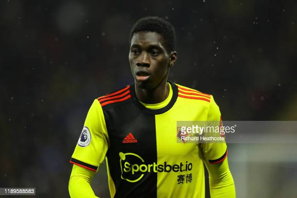 Ismaila Sarr of Watford during the Premier League match between Watford FC and Burnley FC at Vicarage Road on November 23, 2019 in Watford, United...