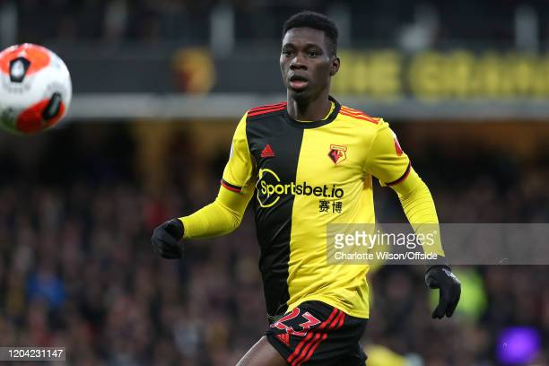 Ismaila Sarr of Watford during the Premier League match between Watford FC and Liverpool FC at Vicarage Road on February 29 2020 in Watford United...