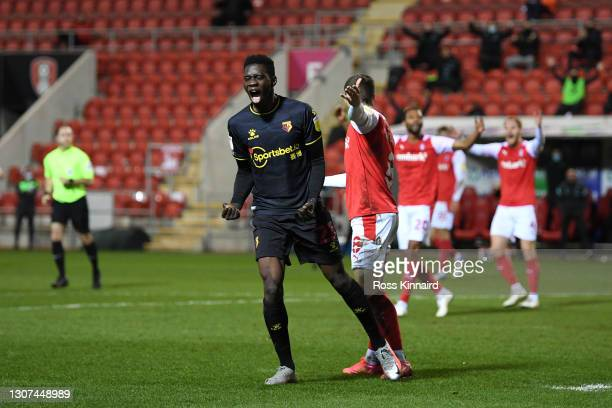 Ismaila Sarr of Watford FC celebrates after scoring their team's second goal during the Sky Bet Championship match between Rotherham United and...