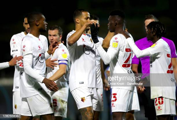 Ismaila Sarr of Watford FC celebrates scoring his teams first goal during the Sky Bet Championship match between Wycombe Wanderers and Watford at...