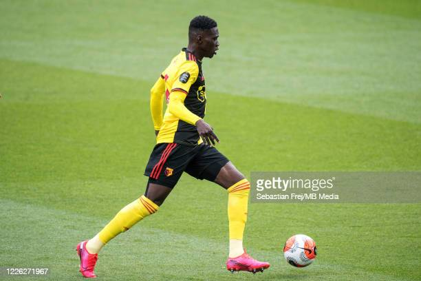 Ismaila Sarr of Watford FC control ball during the Premier League match between Watford FC and Newcastle United at Vicarage Road on July 11 2020 in...