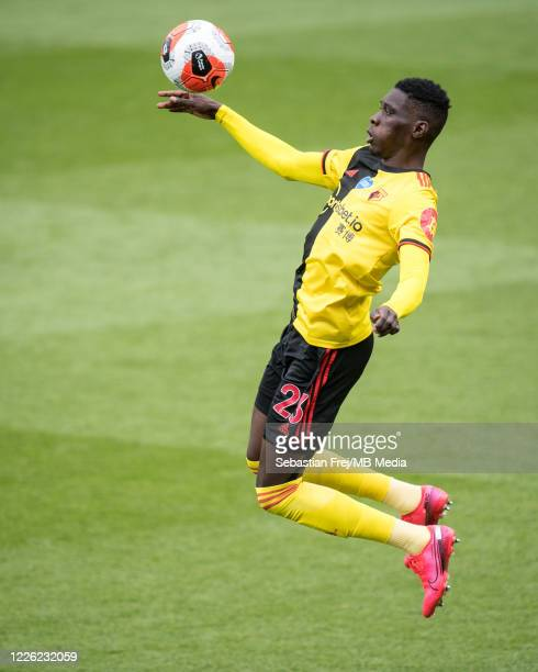 Ismaila Sarr of Watford FC in action during the Premier League match between Watford FC and Newcastle United at Vicarage Road on July 11 2020 in...
