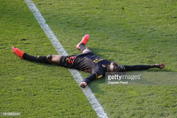Ismaila Sarr of Watford FC reacts during the Sky Bet Championship match between Norwich City and Watford at Carrow Road on April 20, 2021 in Norwich,...